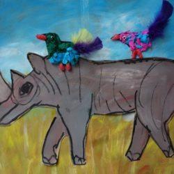 De neushoorn en de ossenpikkers – beeldend
