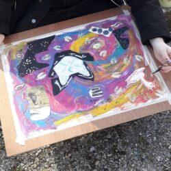 Kunst maken in het park